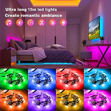Led Strip, L8star 15m Led Streifen Farbwechsel Led Lichterkette Clever Rgb Led Bänder Stripes mit Bluetooth und fern Kontroller Sync zur Musik Led Leiste, Lichterkette bunt - 5