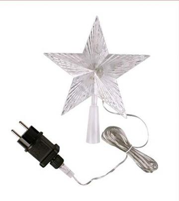 LED Weihnachtsbaumspitze mit 10 LEDs - 18 x 22cm - Stern Baumspitze Christbaum beleuchtet - 10 LEDs warmweiß - mit Stromstecker - 2