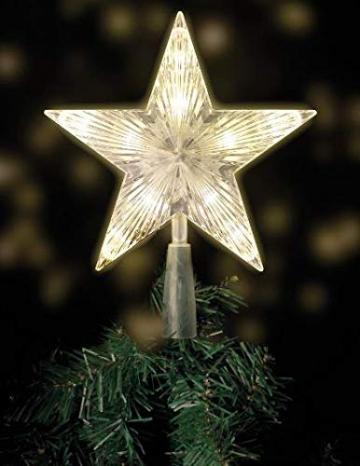 LED Weihnachtsbaumspitze mit 10 LEDs - 18 x 22cm - Stern Baumspitze Christbaum beleuchtet - 10 LEDs warmweiß - mit Stromstecker - 1
