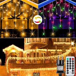 Lichterkette außen Eisregen Weihnachten - RAXFLY 10M 400 LED Weihnachtsbeleuchtung Warmweiß und Bunte Lichterketten für außen & innen,LED Lichterkette mit Fernbedienung Timer - 1