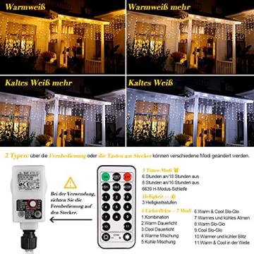 Lichterkette Eisregen außen, GreenClick 440 LED warmweiß Kaltweiß Lichtervorhang, 9נ0,8m LED Vorhang Strom, Lichterketten mit Fernbedienung wasserdicht für Balkon Weihnachten außen und innen Deko - 2