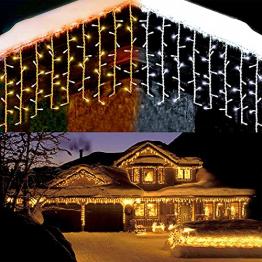 Lichterkette Eisregen außen, GreenClick 440 LED warmweiß Kaltweiß Lichtervorhang, 9נ0,8m LED Vorhang Strom, Lichterketten mit Fernbedienung wasserdicht für Balkon Weihnachten außen und innen Deko - 1