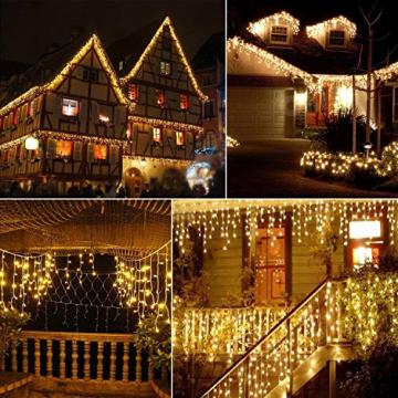 Lichterkette Eisregen außen, GreenClick 440 LED warmweiß Kaltweiß Lichtervorhang, 9נ0,8m LED Vorhang Strom, Lichterketten mit Fernbedienung wasserdicht für Balkon Weihnachten außen und innen Deko - 5