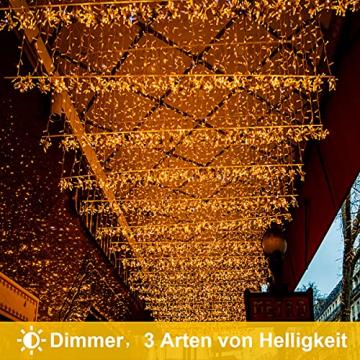 Lichterkette Eisregen außen, GreenClick 440 LED warmweiß Kaltweiß Lichtervorhang, 9נ0,8m LED Vorhang Strom, Lichterketten mit Fernbedienung wasserdicht für Balkon Weihnachten außen und innen Deko - 7