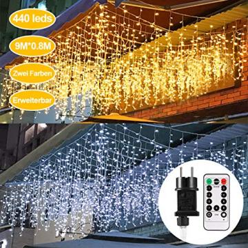 Lichterkette Eisregen außen, GreenClick 440 LED warmweiß Kaltweiß Lichtervorhang, 9נ0,8m LED Vorhang Strom, Lichterketten mit Fernbedienung wasserdicht für Balkon Weihnachten außen und innen Deko - 8