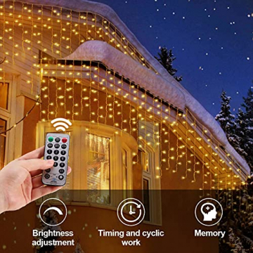 Lichterkette Eisregen außen, GreenClick 440 LED warmweiß Kaltweiß Lichtervorhang, 9נ0,8m LED Vorhang Strom, Lichterketten mit Fernbedienung wasserdicht für Balkon Weihnachten außen und innen Deko - 9