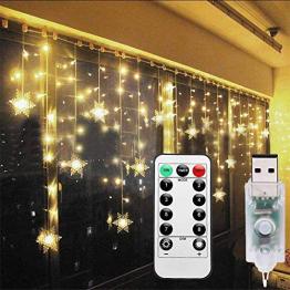 Lichterkette Eisregen Außen, Schneeflocke Weihnachtsbeleuchtung Lichtervorhang mit USB, 8 Modi und Timer Memory-Funktion und Dimmbar mit Fernbedienung, Deko Hochzeiten, Garten(Warmweiß) - 1