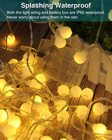 Lichterkette Kugeln, Kolpop 80er LED Lichterketten Batterie 8 Modus Lichterkette USB Strombetrieben Lichterkette mit Fernbedienung Wasserdicht Beleuchtung für Zimmer/Hochzeit/Party/Außen/Innen Decor - 2