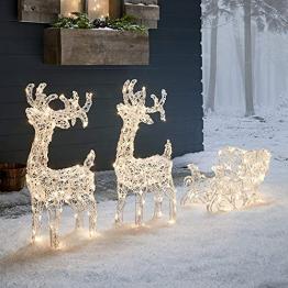Lights4fun 160er LED Rentiere mit Schlitten Rentier Figuren mit Timer Weihnachtsbeleuchtung für außen und innen Weihnachtsfigur - 1