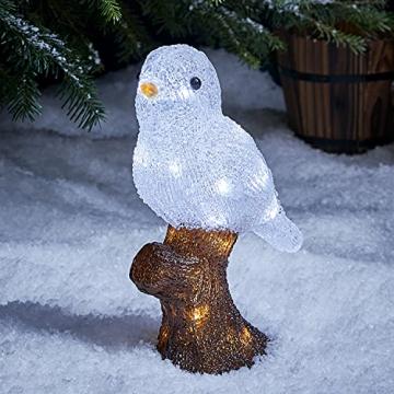Lights4fun 20er LED Acryl Vogel Weihnachtsfigur Weihnachtsbeleuchtung Außen batteriebetrieben mit Timer - 1