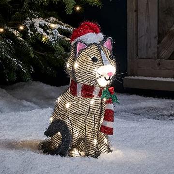 Lights4fun 30er LED Katze Weihnachtsbeleuchtung Außen Weihnachtsfigur mit Timer - 1
