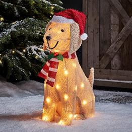 Lights4fun 50er LED Labrador Weihnachtsbeleuchtung Außen Weihnachtsfigur Timer - 1