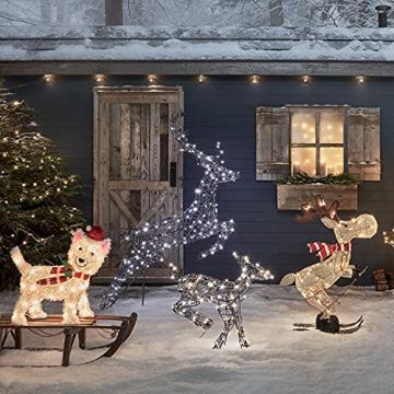 Lights4fun 50er LED Westie West Highland White Terrier Weihnachtsbeleuchtung Weihnachtsfigur Timer - 4