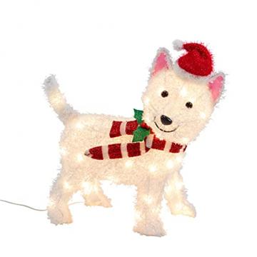 Lights4fun 50er LED Westie West Highland White Terrier Weihnachtsbeleuchtung Weihnachtsfigur Timer - 5