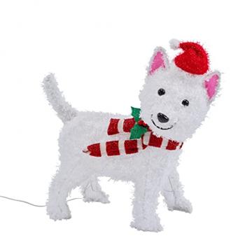 Lights4fun 50er LED Westie West Highland White Terrier Weihnachtsbeleuchtung Weihnachtsfigur Timer - 6