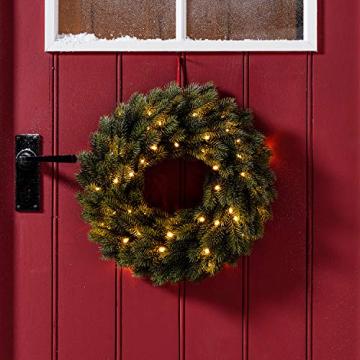 Lights4fun LED Weihnachtskranz 40cm warmweiß Timer Außen - 1