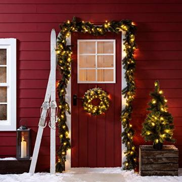 Lights4fun LED Weihnachtskranz 40cm warmweiß Timer Außen - 3