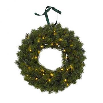 Lights4fun LED Weihnachtskranz 40cm warmweiß Timer Außen - 5