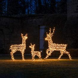 Lights4fun Rattan LED Rentier Familie Weihnachtsfiguren Außen - 1
