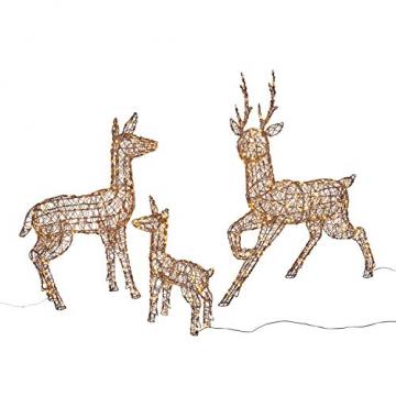 Lights4fun Rattan LED Rentier Familie Weihnachtsfiguren Außen - 2