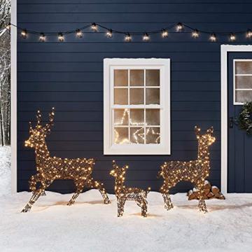 Lights4fun Rattan LED Rentier Familie Weihnachtsfiguren Außen - 4
