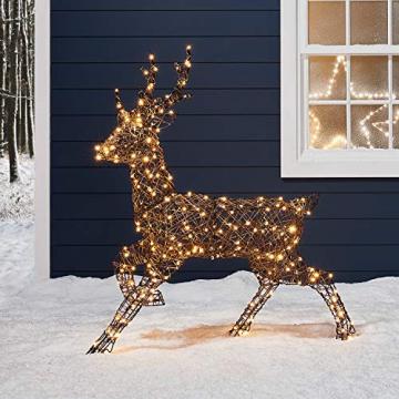 Lights4fun Rattan LED Rentier Familie Weihnachtsfiguren Außen - 5