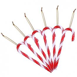 LIHAO 12 Stück Zuckerstange Weihnachtsbaumschmuck Anhänger Weihnachten Christsbaumsdeko Baumbehang Weihnachten weiß rot - 1