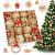 LIHAO 56 x Strohsterne Christbaumschmuck Weihnachtsbaum Stroh Weihnachten Strohanhänger Christbaum Deko Anhänger für Weihnachten Advent Sterne Herzen Engel Set Behang - 1