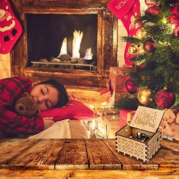 LINGSFIRE Weihnachtliche Hölzerne Spieluhr, Geschenk für Ehefrau für Familie, Freunde, Kinder, Weihnachtsdekoration, Handkurbel, Kreative Spieluhr, Weihnachtsgeschenk, Frohe Weihnachten - 2