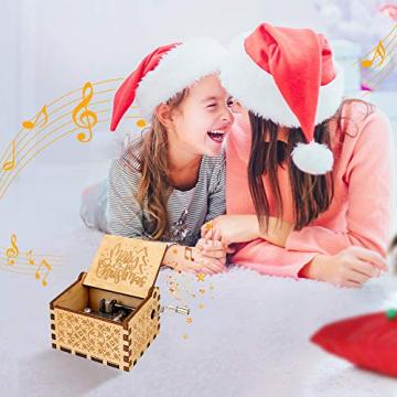 LINGSFIRE Weihnachtliche Hölzerne Spieluhr, Geschenk für Ehefrau für Familie, Freunde, Kinder, Weihnachtsdekoration, Handkurbel, Kreative Spieluhr, Weihnachtsgeschenk, Frohe Weihnachten - 6