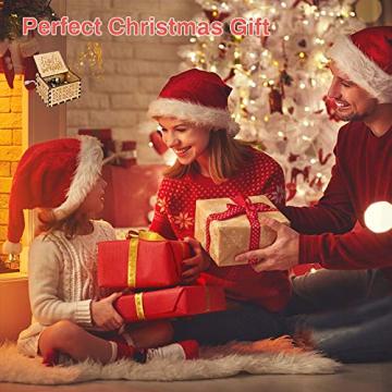 LINGSFIRE Weihnachtliche Hölzerne Spieluhr, Geschenk für Ehefrau für Familie, Freunde, Kinder, Weihnachtsdekoration, Handkurbel, Kreative Spieluhr, Weihnachtsgeschenk, Frohe Weihnachten - 7