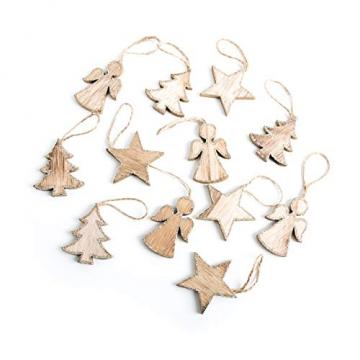 Logbuch-Verlag 12 Weihnachtsanhänger aus Holz natur gold - Stern + Baum + Engel - natürlicher Baumschmuck Holzanhänger - 1