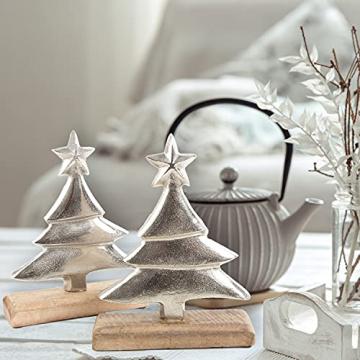 Logbuch-Verlag 2 Dekobäume aus Holz & Metall 25 cm Silber braun - Tannenbaum als Weihnachtsdeko - Baum Figuren zum Hinstellen - 2