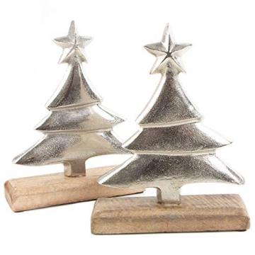 Logbuch-Verlag 2 Dekobäume aus Holz & Metall 25 cm Silber braun - Tannenbaum als Weihnachtsdeko - Baum Figuren zum Hinstellen - 1