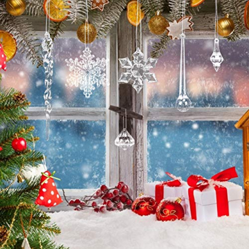 LOVEXIU Weihnachtsdeko Eiszapfen Anhänger 68 Stück,Weihnachtsbaumschmuck, Acryl Eiszapfen Deko,Schneeflocken deko acryl,Christbaumschmuck eiszapfen Schneeflocke Für Hängen Weihnachten Dekoration - 6