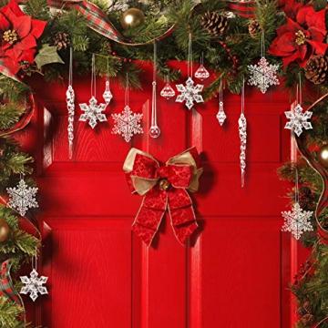 LOVEXIU Weihnachtsdeko Eiszapfen Anhänger 68 Stück,Weihnachtsbaumschmuck, Acryl Eiszapfen Deko,Schneeflocken deko acryl,Christbaumschmuck eiszapfen Schneeflocke Für Hängen Weihnachten Dekoration - 7