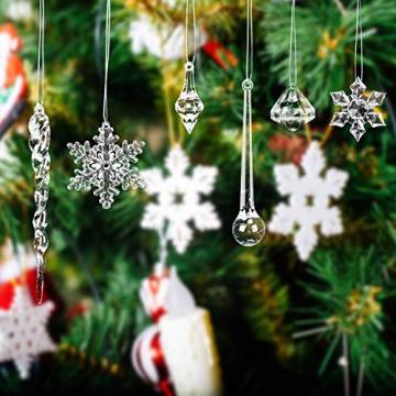 LOVEXIU Weihnachtsdeko Eiszapfen Anhänger 68 Stück,Weihnachtsbaumschmuck, Acryl Eiszapfen Deko,Schneeflocken deko acryl,Christbaumschmuck eiszapfen Schneeflocke Für Hängen Weihnachten Dekoration - 9