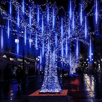 Luccase 6 Stück LED Meteor Licht 30CM Party LED Lichter Meteorschauer Licht Röhren Meteorschauer Regen Schneefall Weihnachtsbaum Garten Freien Dekoration (Blau) - 1