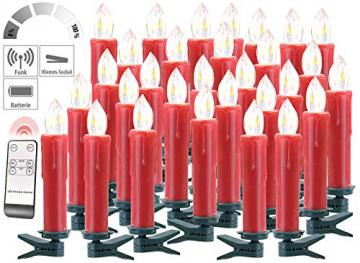 Lunartec Funkkerzen: FUNK-Weihnachtsbaum-LED-Kerzen mit Fernbedienung, 30er-Set, rot (Christbaumkerzen Funk) - 3