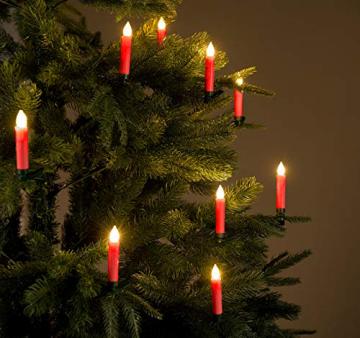 Lunartec Funkkerzen: FUNK-Weihnachtsbaum-LED-Kerzen mit Fernbedienung, 30er-Set, rot (Christbaumkerzen Funk) - 5