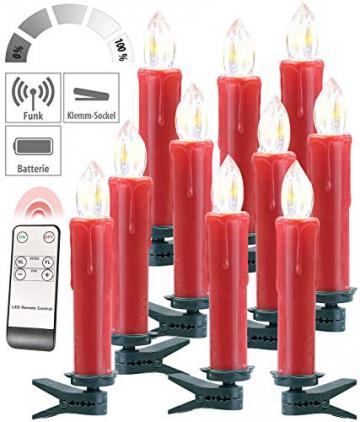 Lunartec Funkkerzen: FUNK-Weihnachtsbaum-LED-Kerzen mit Fernbedienung, 30er-Set, rot (Christbaumkerzen Funk) - 9