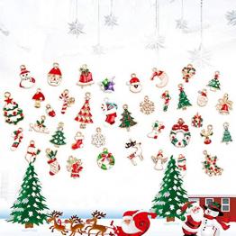 LYTIVAGEN 25 Stück Mini Weihnachten Anhänger Schmuckanhänger Weihnachten Hängende Ornamente Emaille Christbaum Anhänger Weihnachtsbaum Schmuck Tannenschmuck für Weihnachten Dekoration DIY Schmuck - 1