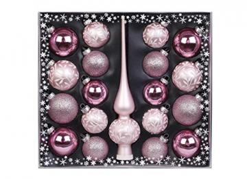 MAGIC Kugelsortiment Glas Dekor 19 TLG. mit Spitze Christbaumkugeln Christbaumschmuck Tannenbaum Deko Weihnachten Weihnachtskugeln Farbe: rosa weiß - 1