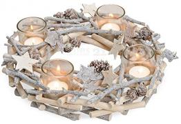 matches21 Adventskranz aus Holz mit Gläsern als Teelichthalter & rustikaler dekoriert mit Ästen weiß ca. Ø 30x9 cm - 1