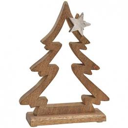 matches21 Tannenbaum & Stern Dekofigur Weihnachtsdeko Holz & Metall Figur Weihnachten Silber/braun 1 STK 21x28 cm - 1