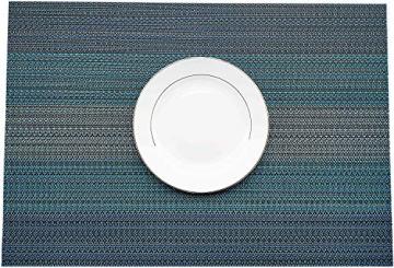 MEEO 6 X Platzdeckchen Platzsets Tischset Untersetzer Abwaschbar rutschfest (6er Set, Blau) - 4