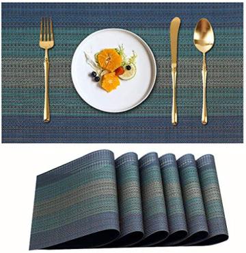 MEEO 6 X Platzdeckchen Platzsets Tischset Untersetzer Abwaschbar rutschfest (6er Set, Blau) - 1