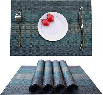 MEEO 6 X Platzdeckchen Platzsets Tischset Untersetzer Abwaschbar rutschfest (6er Set, Blau) - 5