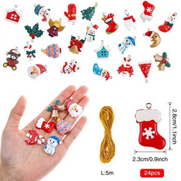 MELLIEX 24 Stück Weihnachten Miniatur Anhänger, Christbaumschmuck Harz Ornamente DIY Weihnachtsschmuck für Christbaum Adventskalender Puppenhaus Dekoration - 2