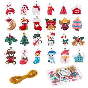 MELLIEX 24 Stück Weihnachten Miniatur Anhänger, Christbaumschmuck Harz Ornamente DIY Weihnachtsschmuck für Christbaum Adventskalender Puppenhaus Dekoration - 1